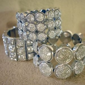 Set of 3 Silver-tone Bling Stretch Bracelets